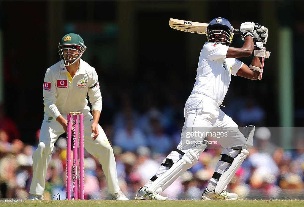 Nuwan Pradeep of Sri Lanka bats during day four of the Third Test match between Australia and Sri Lanka at the Sydney Cricket Ground on January 6, 2013 in Sydney, Australia.
