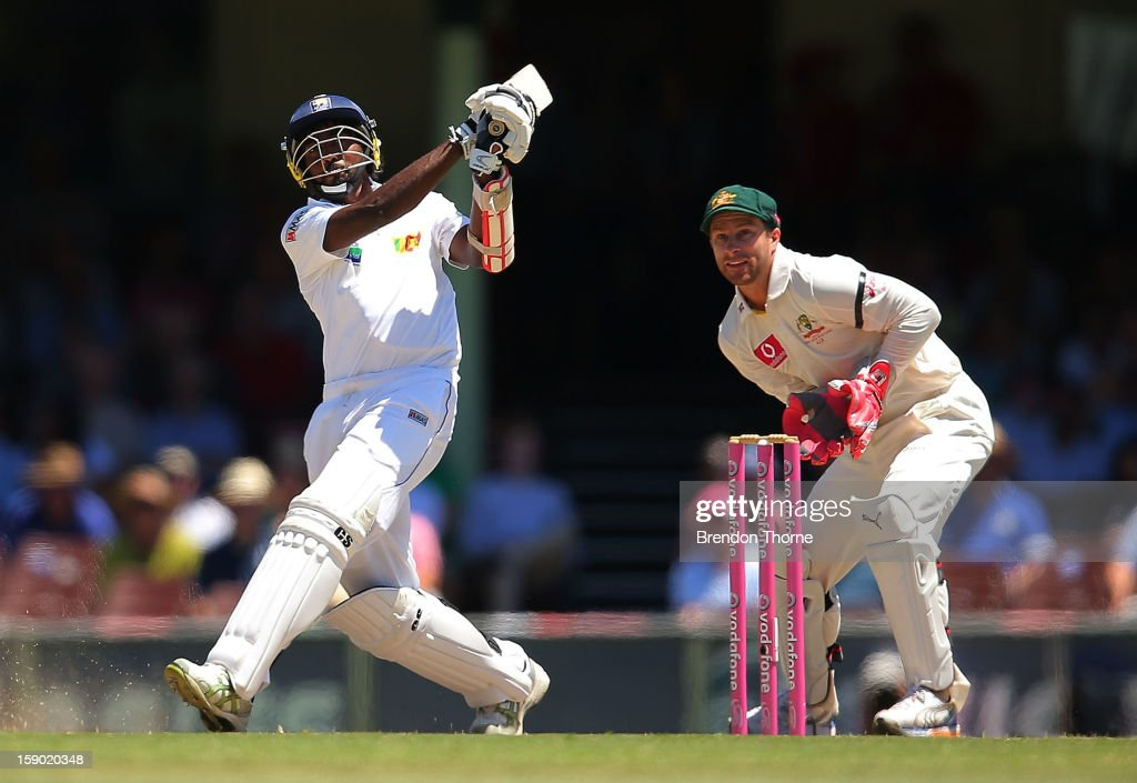Nuwan Pradeep of Sri Lanka bats during day four of the Third Test match between Australia and Sri Lanka at the Sydney Cricket Ground on January 6, 2013 in Sydney, Australia.