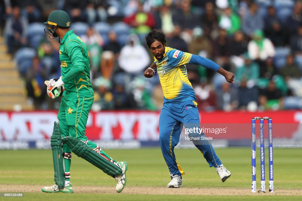 Nuwan Pradeep of Sri Lanka celebrates capturing the wicket of Imad Wasim of Pakistan during the ICC Champions Trophy match between Sri Lanka and Pakistan at the SWALEC Stadium on June 12, 2017 in Cardiff, Wales.