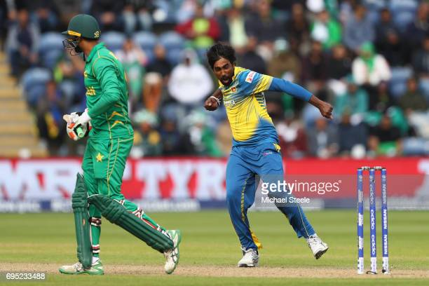 Nuwan Pradeep of Sri Lanka celebrates capturing the wicket of Imad Wasim of Pakistan during the ICC Champions Trophy match between Sri Lanka and...