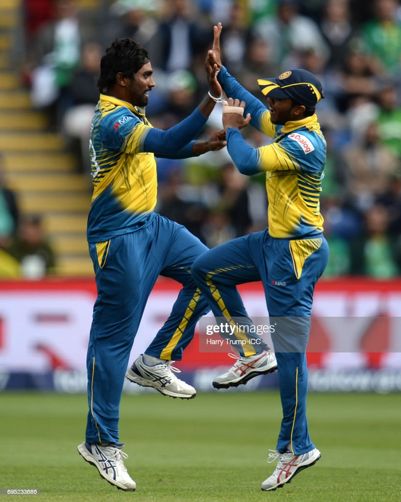 Nuwan Pradeep of Sri Lanka celebrates the wicket of Imad Wasim of Pakistan during the ICC Champions Trophy match between Sri Lanka and Pakistan at SWALEC Stadium on June 12, 2017 in Cardiff, Wales.