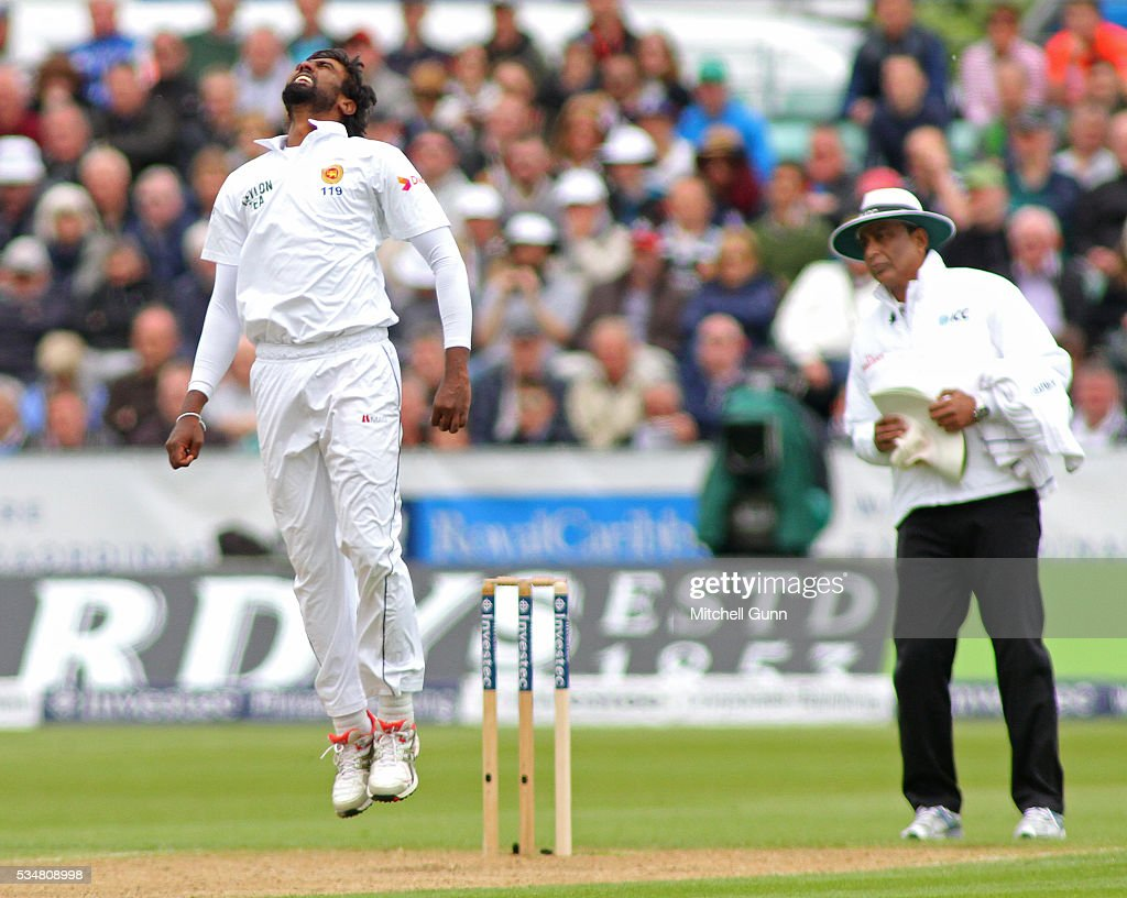 Nuwan Pradeep of Sri Lanka reacts after being hit for four runs during day two of the 2nd Investec Test match between England and Sri Lanka at Emirates Durham ICG on May 28, 2016 in Chester-le-Street, United Kingdom.