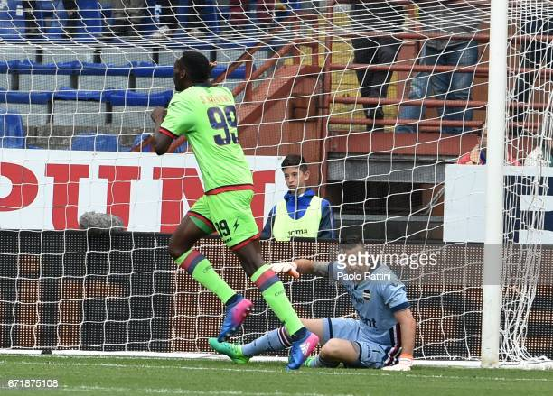 Nwankwo Simy celebrate after score 12 during the Serie A match between UC Sampdoria and FC Crotone at Stadio Luigi Ferraris on April 23 2017 in Genoa...