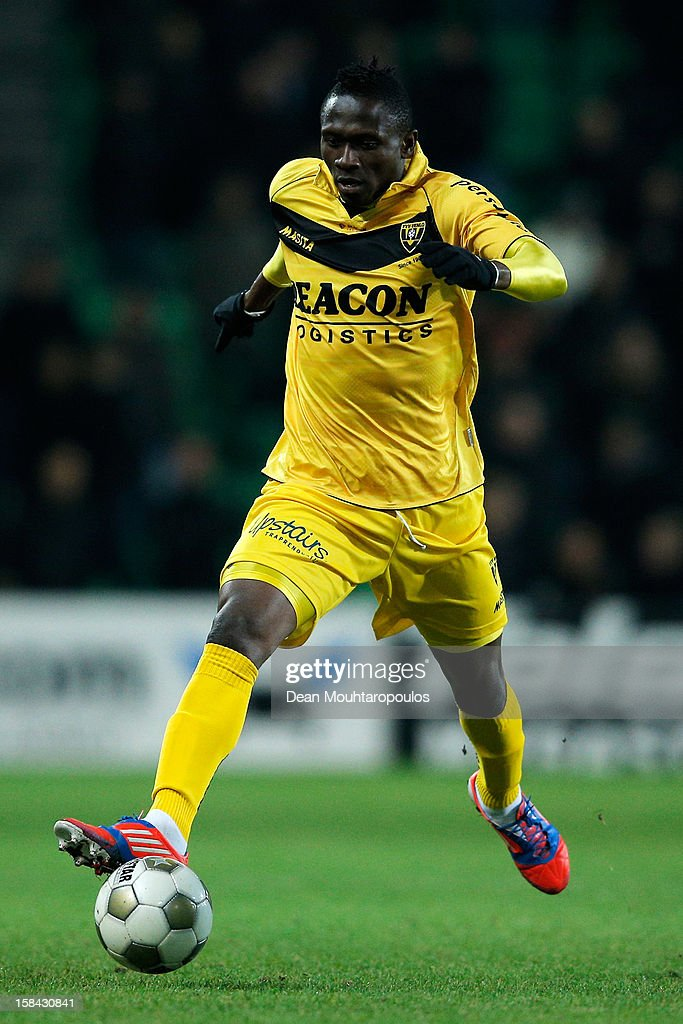 Nwofor Uche of Venlo in action during the Eredivisie match between FC Groningen and VVV Venlo at the Euroborg Stadium on December 15, 2012 in Groningen, Netherlands.