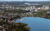 NWTYellowknifeJune 12 2005Aerial photo taken from a helicopter looking down on Old Town Yellowknife up to the downtown core the ice is still on the...