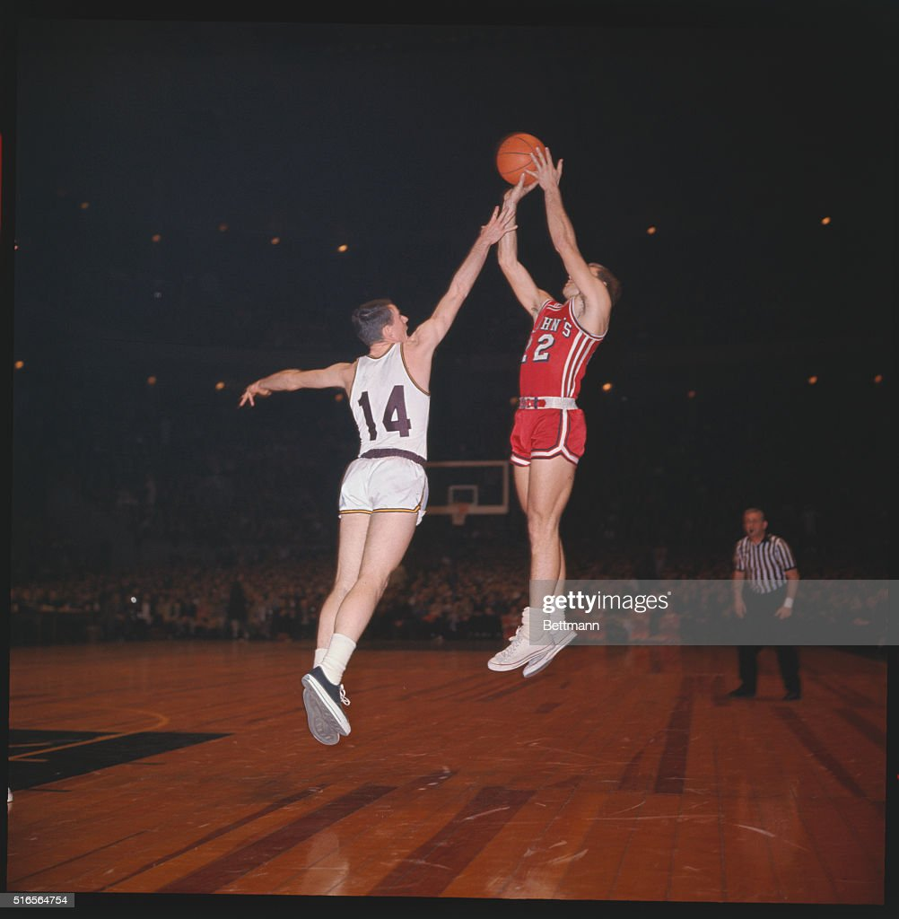 NXPNational Invitation tournament Madison Square Garden game between Boston College and St Johns No 14 Bob Furbush tries to intercept a score by no...