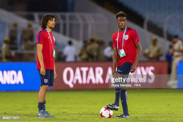 Nya Kirby and Callum Hudson Odoi of England looks on during training session ahead of the FIFA U17 World Cup India 2017 tournament at Salt Lake...