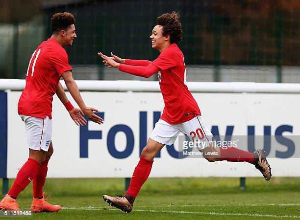 Nya Kirby of England celebrates his goal with Jadon Sancho during the U16s International Friendly match between England U16 and Italy U16 at St...