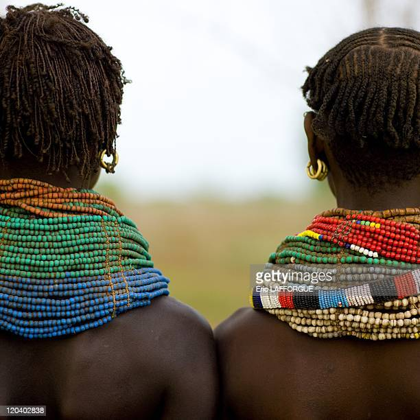 Nyangatom tribe women back in Ethiopia on October 28 2008 Nyangatom people live on the Omo river banks in south Ethiopia They are both in Sudan and...
