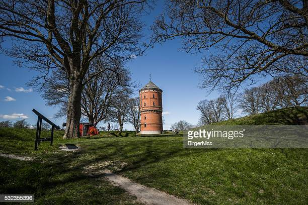 Nyborg water tower on the Queen's rampart, Denmark