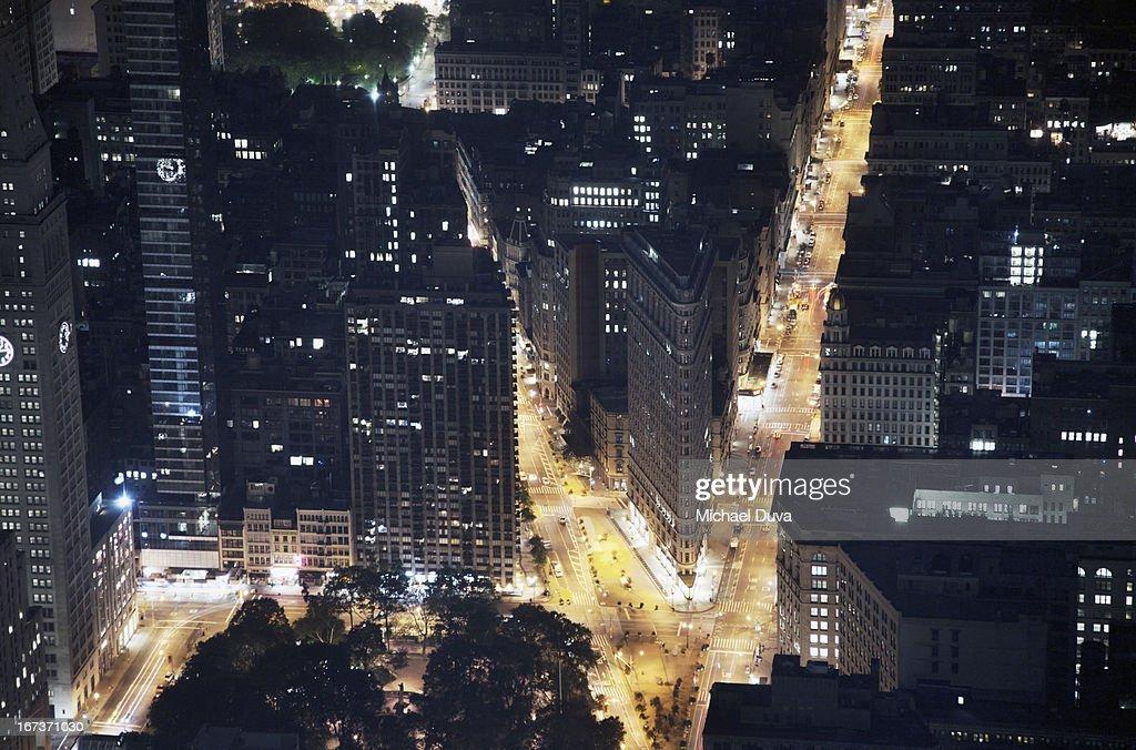 nyc aerial view at night looking south at flatiron : Stock Photo