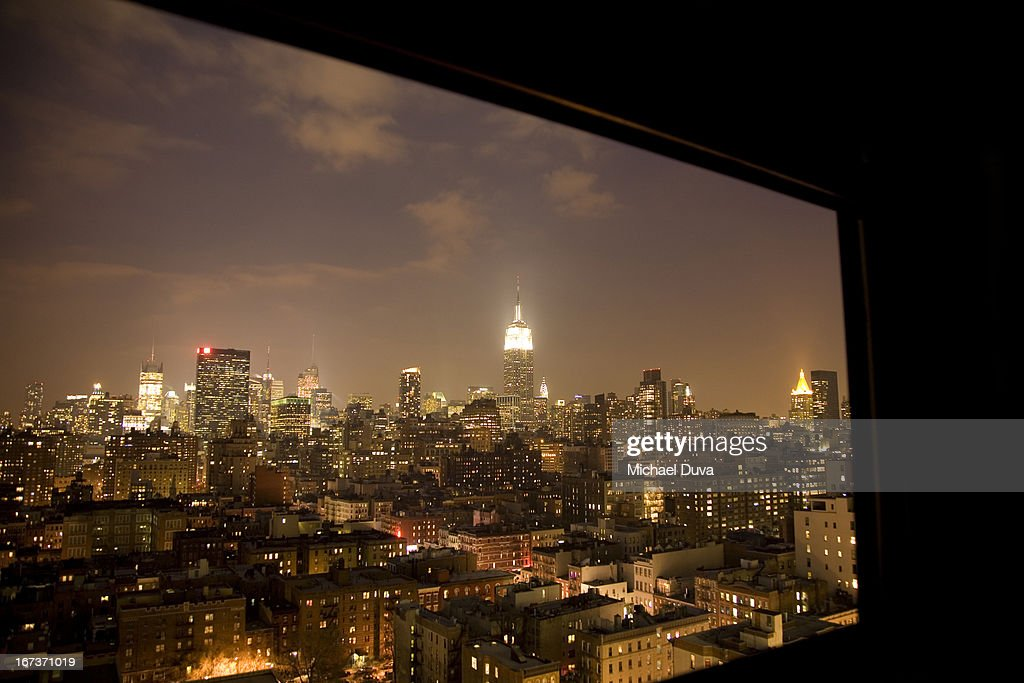 nyc elevated view at night looking north window : Stock Photo