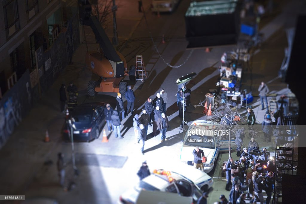nyc film set miniature with police car