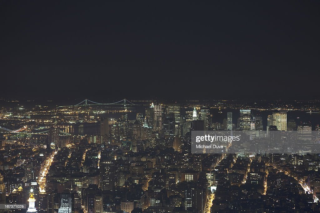 nyc skyline aerial view at night looking south : Stock Photo
