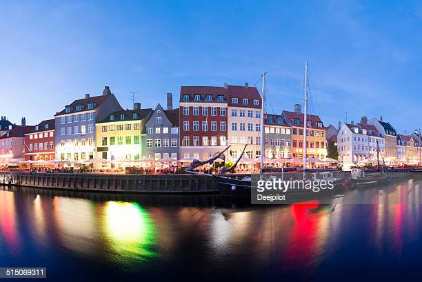 Nyhavn Canal City Skyline in Copenhagen Denmark