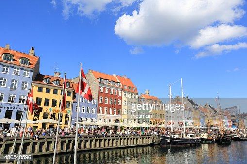 Nyhavn Canal, Copenhague, Dinamarca : Foto de stock