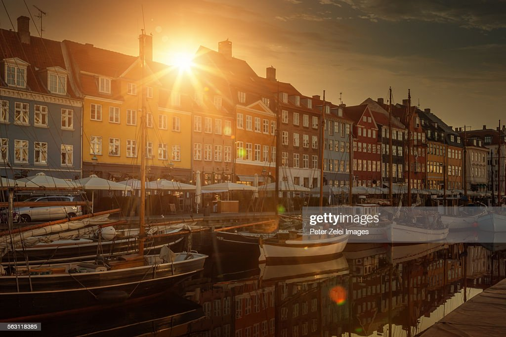 Nyhavn in Copenhagen at sunrise