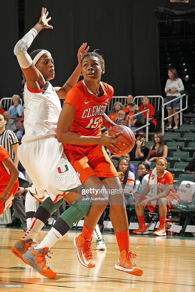 Nyilah Jamison-Myers #15 of the Clemson Lady Tigers goes to the basket against the Miami Hurricanes on January 3, 2013 at the BankUnited Center in Coral Gables, Florida. Miami defeated Clemson 78-56.