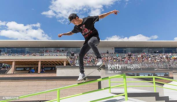 Nyjah Huston participates in Men's Skateboard Street Final during X Games Austin at Circuit of The Americas on June 7 2015 in Austin Texas