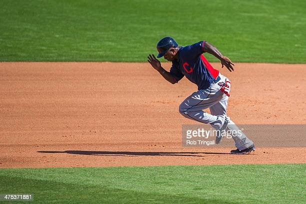 Nyjer Morgan of the Cleveland Indians runs the bases during a spring training game against the Cincinnati Reds at Goodyear Ballpark on February 27...
