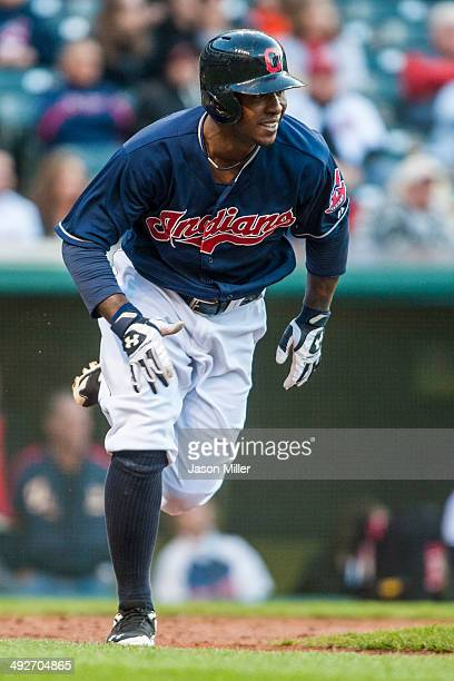 Nyjer Morgan of the Cleveland Indians runs to first during the second inning against the Minnesota Twins at Progressive Field on May 6 2014 in...