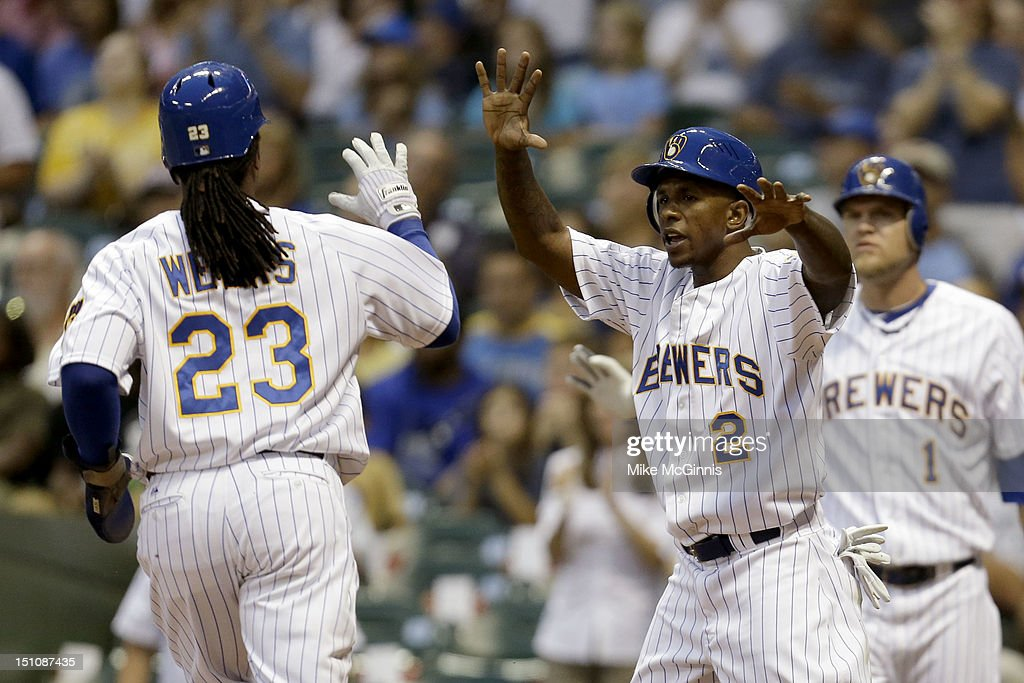 <a gi-track='captionPersonalityLinkClicked' href=/galleries/search?phrase=Nyjer+Morgan&family=editorial&specificpeople=4175372 ng-click='$event.stopPropagation()'>Nyjer Morgan</a> #2 of the Milwaukee Brewers celebrates with <a gi-track='captionPersonalityLinkClicked' href=/galleries/search?phrase=Rickie+Weeks&family=editorial&specificpeople=550245 ng-click='$event.stopPropagation()'>Rickie Weeks</a> #23 after scoring on a hit by Aramis Ramirez in the bottom of the first inning against the Pittsburgh Pirates at Miller Park on August 31, 2012 in Milwaukee, Wisconsin.