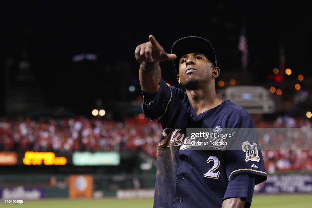 Nyjer Morgan #2 of the Milwaukee Brewers gestures after the Brewers won 4-2 against the St. Louis Cardinals during Game 4 of the National League Championship Series at Busch Stadium on October 13, 2011 in St. Louis, Missouri.