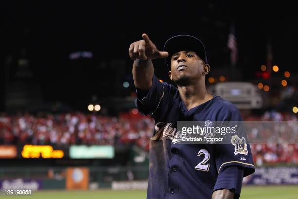 Nyjer Morgan of the Milwaukee Brewers gestures after the Brewers won 42 against the St Louis Cardinals during Game 4 of the National League...