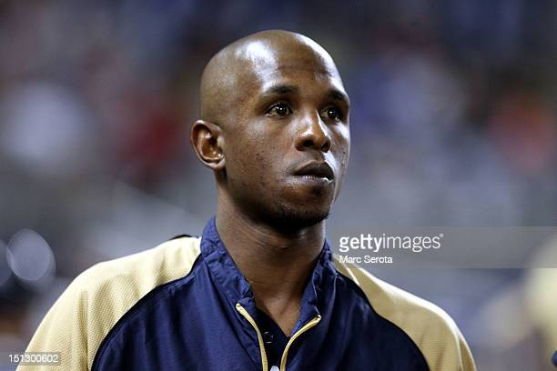 Nyjer Morgan of the Milwaukee Brewers prepares to bat against the Miami Marlins at Marlins Park on September 5 2012 in Miami Florida