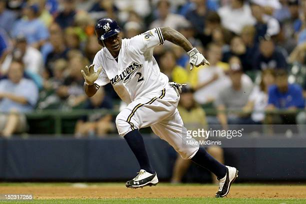 Nyjer Morgan of the Milwaukee Brewers runs to second base during the game against the New York Mets at Miller Park on September 15 2012 in Milwaukee...