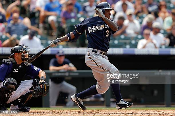 Nyjer Morgan of the Milwaukee Brewers takes an at bat against the Colorado Rockies at Coors Field on August 15 2012 in Denver Colorado