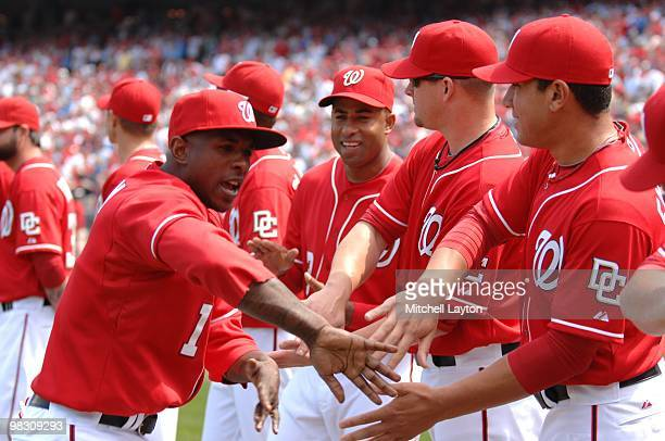 Nyjer Morgan of the Washington Nationals is introducted before a baseball game against the Philadelphia Phillies on April 5 2010 at Nationals Park in...