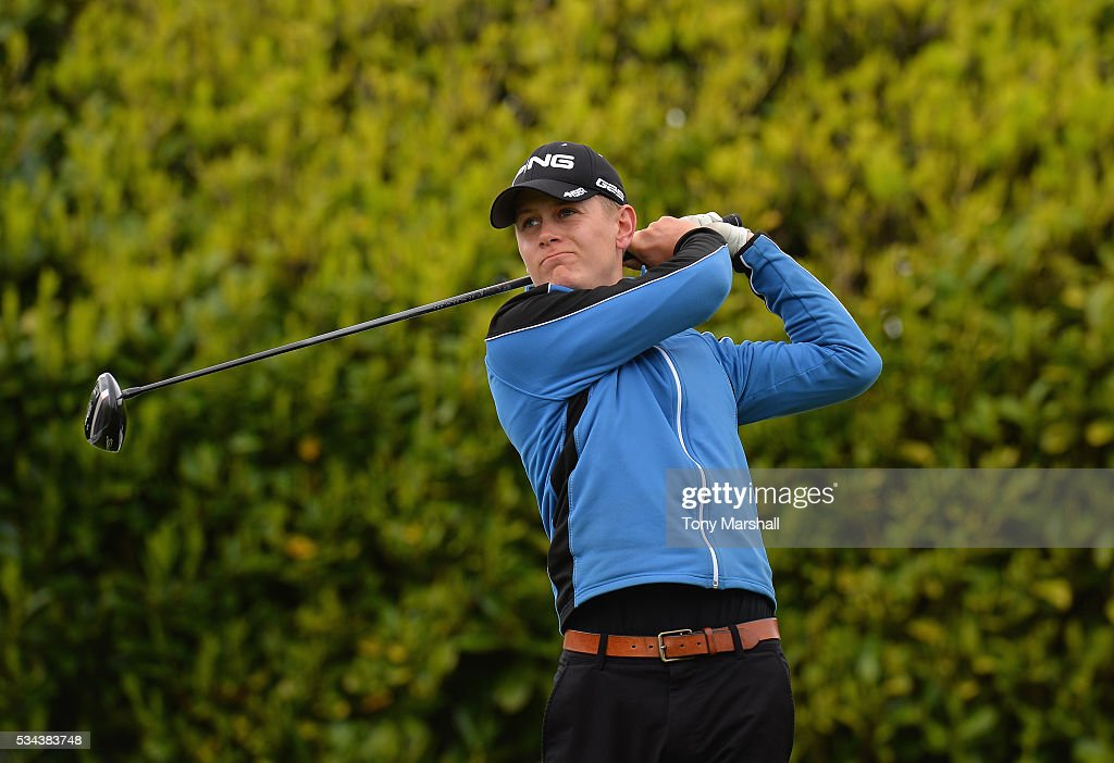 Nyle Challinor of Riverside Golf Centre plays his first shot on the 1st tee during the PGA Assistants Championships - Midlands Qualifier at the Coventry Golf Club on May 26, 2016 in Coventry, England.