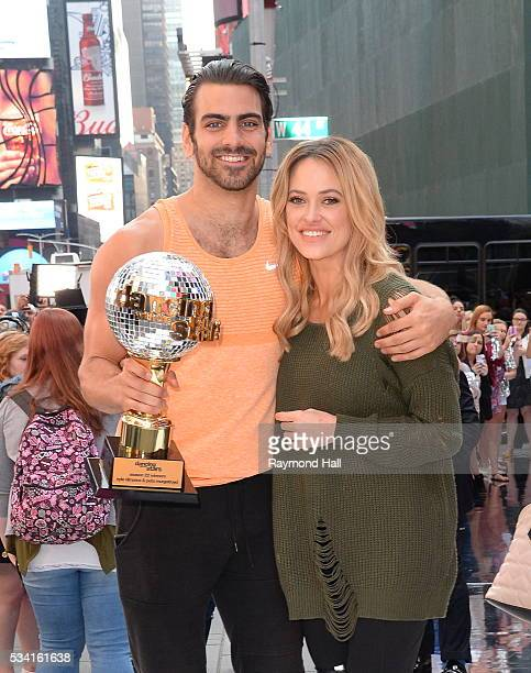 Nyle DiMarco and propartner Peta Murgatroyd are seen on the set of 'Good Morning America' on May 25 2016 in New York City