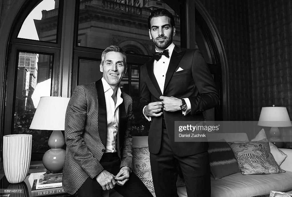 Nyle DiMarco and the CEO of Wilhelmina Models Bill Wackermann prepare for the 7th Annual amfAR Inspiration Gala at the offices of Wilhelmina Models...
