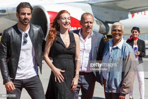 Nyle DiMarco Ute Lemper Life Ball organizer Gery Keszler and Dionne Warwick arrive on the Life Ball plane on June 9 2017 in Vienna Austria The Life...