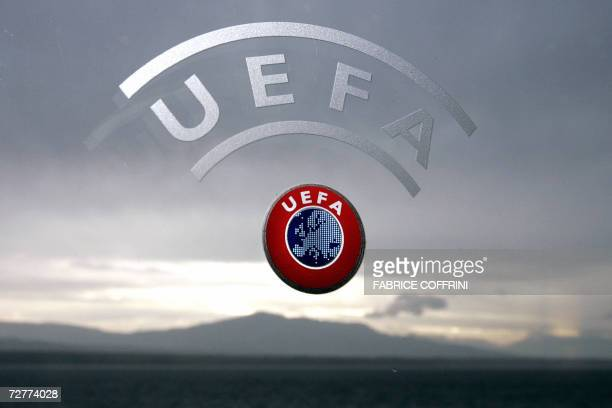 A UEFA logo is seen with Geneva Lake and Alps as background 08 December 2006 during a press conference closing a two days Executive committee meeting...