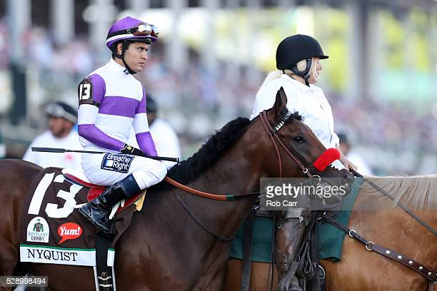 Nyquist ridden by Mario Gutierrez walks on track prior to the 142nd running of the Kentucky Derby at Churchill Downs on May 07 2016 in Louisville...