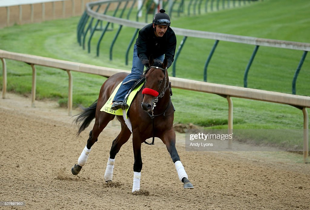 Nyquist runs on the track during the morning training for the 2016 Kentucky Derby at Churchill Downs on May 03, 2016 in Louisville, Kentucky.