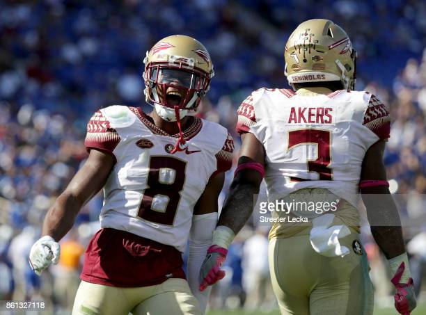 Nyqwan Murray of the Florida State Seminoles reacts after his teammate Cam Akers scores a touchdown against the Duke Blue Devils during their game at...
