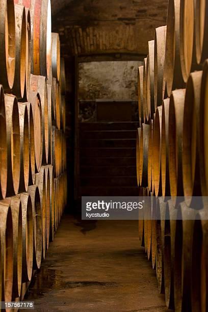 Oak Barrels at the Wine Cellar