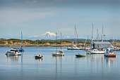 Looking across Oak Bay on Vancouver Island with Mount Baker in the background.