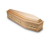 an oak coffin casket isolated on white with clipping path
