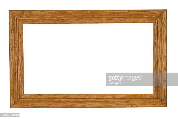Oak Picture Frame, Natural Finish with Wood Grain, White Isolated