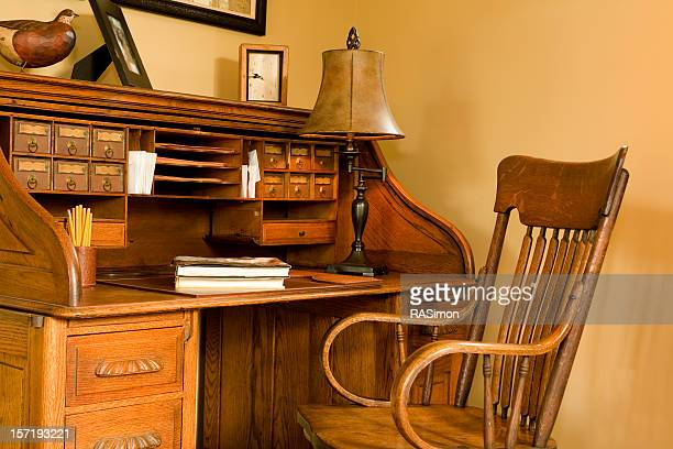 Oak Rolltop Desk and Chair