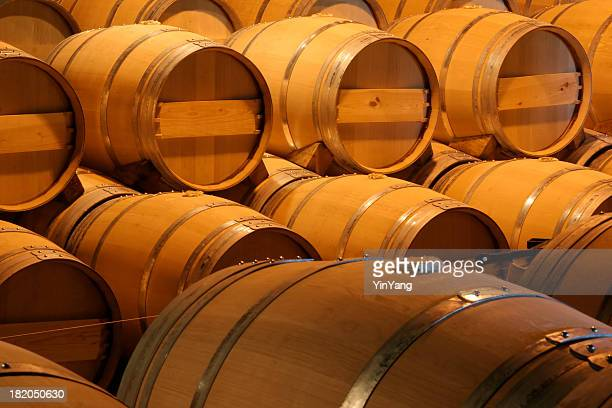 Oak Wooden Wine Barrels in Winery Aging Cellar for Winemaking