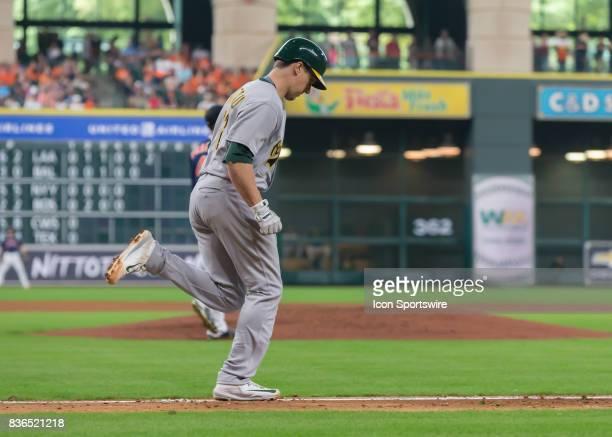 Oakland Athletics catcher Dustin Garneau during the MLB game between the Oakland Athletics and Houston Astros on August 20 2017 at Minute Maid Park...