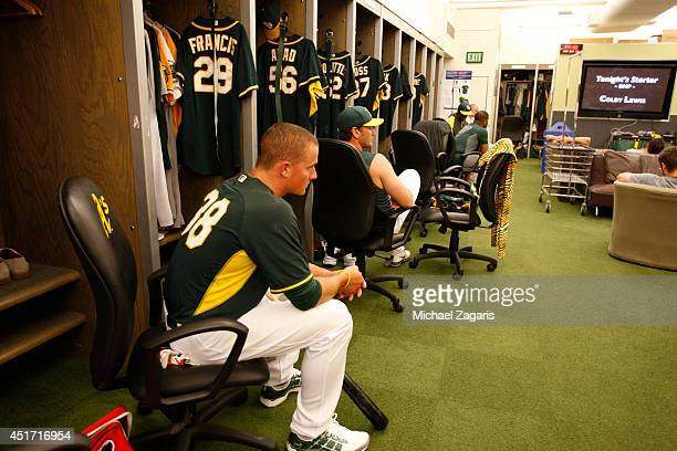 Oakland Athletics first round draft pick Matt Chapman sits in on a hitters meeting in the clubhouse prior to the game against the Texas Rangers at...