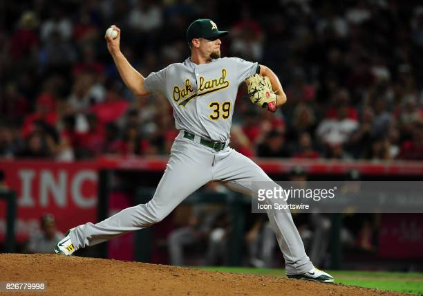 Oakland Athletics pitcher Blake Treinen in action during the seventh inning of a game against the Los Angeles Angels of Anaheim on August 4 played at...