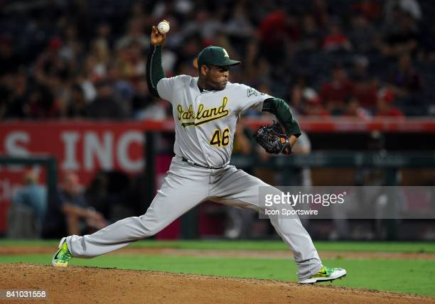 Oakland Athletics pitcher Santiago Casilla in action during the ninth inning of a game against the Los Angeles Angels of Anaheim on August 28 played...